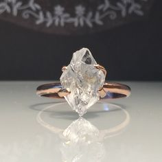 A personal favorite from my Etsy shop https://www.etsy.com/listing/530312932/raw-rose-gold-herkimer-diamond #jewelrytrends