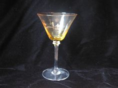 Vintage Yellow Etched Wine Martini Glass by VintageClassicWares, $25.00