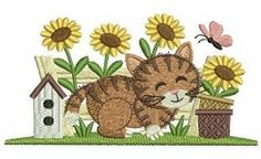 Gardening Kitty 7 - 4x4 | Tags | Machine Embroidery Designs | SWAKembroidery.com Ace Points Embroidery