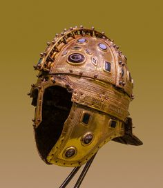 "Roman ridge helmet (Berkasovo I), early 4th century CE. Made of iron and sheathed in silver-gilt, it is decorated with glass gems. From the ""Berkasovo treasure"", Muzej Vojvodine, Novi Sad (Serbia)."