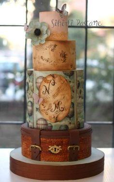 Travel Cake by Sihirli Pastane Beautiful Cakes, Amazing Cakes, Travel Cake, Travel Party, Luggage Cake, Cupcake Cakes, Cupcakes, Retirement Cakes, Just Cakes