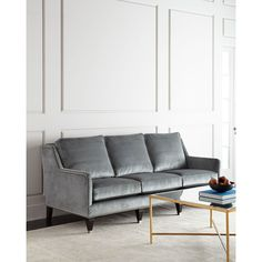 Massoud Leather Sofa by BolivarGray ($3,999) ❤ liked on Polyvore featuring home, furniture, sofas, grey leather couch, leather sofa, colored leather couches, massoud furniture and grey sofa