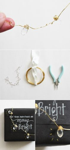 DIY Mini String of LIghts | Creative Holiday Packaging | Black, White, Gold