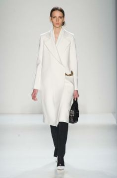 Chains, frothy ruffles and abstract prints at Victoria Beckham autumn/winter 14 http://uk.bazaar.com/Np6uXE