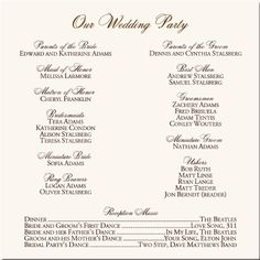 Wedding Ceremony Programs Holiday Winter