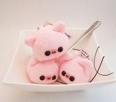 Baby Pork Pig Cube Plushie Keychain kawaii stuffed toy bag charm in soft pink fleece. $12.50, via Etsy.