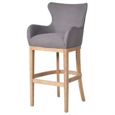 £300 Buy the Grey Studded Barstool With Silver Knocker with free delivery from Turnbull and Thomas