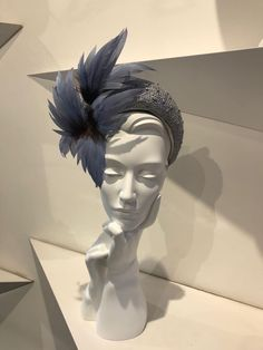 Exclusive hats and headpieces designed and created by Jane Taylor London through the bespoke service at our specialist millinery, based in Chelsea, London Fascinator Headband, Fascinators, Headpieces, Fall Hats, Feather Headband, Church Hats, Blue Feather, Flower Hats, Wedding Hats