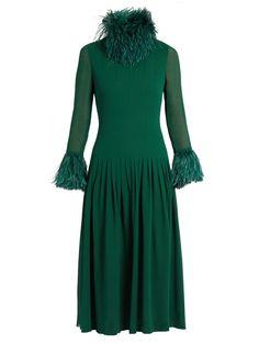 SAINT LAURENT Feather-trimmed silk midi dress