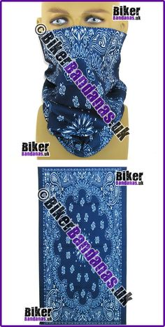Navy Blue Circular Paisley Panel Multifunctional Headwear / Neck Tube Bandana