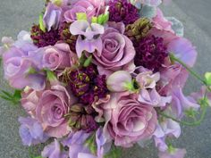 lavender garden bouquet, roses, sweet peas, hyacinth