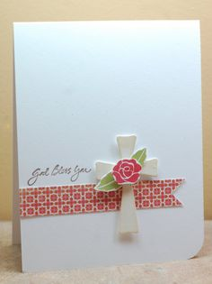 lovely first communion card -- can be used for other occasions. A simple, quick easy card to make when you need one in a hurry. First Communion Cards, Première Communion, Confirmation Cards, Baptism Cards, Cricut Cards, Stampin Up Cards, Tarjetas Stampin Up, Pinterest Cards, Christian Cards