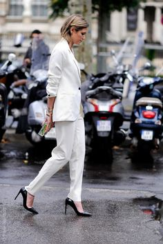 Love a white suit, especially paired with classic black stilettos.