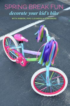 Creative idea to use pipe cleaners on spokes, ribbons held with a hairband, and streamers to accent.
