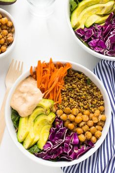 This Nourish Buddha Bowl is nourishing, detoxifying and filled with absolutely delicious veggies and grains and topped with an incredible tahini dressing! Good Healthy Recipes, Healthy Meal Prep, Whole Food Recipes, Healthy Eating, Free Recipes, Healthy Food, Yummy Food, Healthy Treats, Tasty