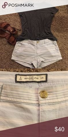 Striped A&F Shorts Light blue and white striped cotton shorts. Gently used. Great condition. Bundle and save! 💐 Abercrombie & Fitch Shorts