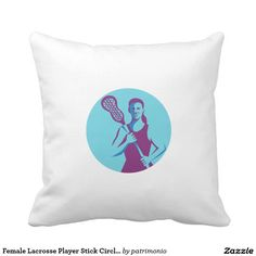 Female Lacrosse Player Stick Circle Retro Pillow. Illustration of a female lacrosse player holding lacrosse stick facing front set inside circle on isolated background done in retro style. #lacrosse #olympics #sports #summergames #rio2016 #olympics2016