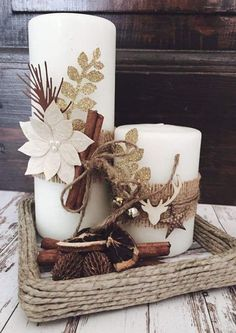 Simple And Popular Christmas Decorations; Christmas Decor DIY candles decorations simple Simple And Popular Christmas Decorations Christmas Candle Decorations, Christmas Candles, Rustic Christmas, Simple Christmas, Christmas Themes, Christmas Wreaths, Table Decorations, Christmas Ornaments, Centerpiece Ideas