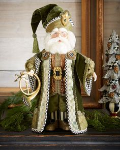 Shop Evergreen Santa from MacKenzie-Childs at Horchow, where you'll find new lower shipping on hundreds of home furnishings and gifts. Irish Christmas, Green Christmas, Christmas Art, Christmas Vases, Christmas Patterns, Mckenzie And Childs, Santa Decorations, Santa Doll, Santa Ornaments