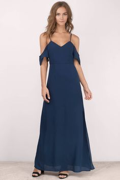 Feeling romantic? You'll love the Romantic Off Shoulder Maxi Dress. Featuring cold shoulders and maxi length. Pair with heels and a statement necklace.
