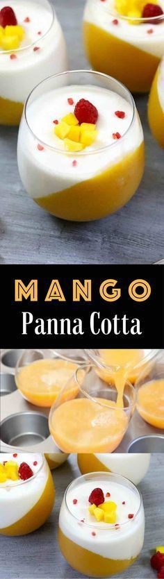 The Best Mango Panna Cotta – looks so elegant and tastes so delicious that you won't believe how easy it is to make! Creamy, rich and smooth dessert topped with fresh mango and raspberries. All you need is some simple ingredients: fresh mango, mango juice, gelatin, milk, heavy cream and vanilla extract. Wow your guest with this refreshing dessert at your next party! No bake, easy dessert. Video recipe.   Tipbuzz.com