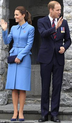 The royal couple smiled and waved gracefully to the crowd. Kate's hair was tied into a looped pony tail, styled by her hairdresser Amanda Cook Tucker