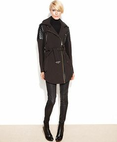 BCBGeneration Coat, Hooded Faux-Leather-Trim Belted Soft-Shell