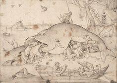 Pieter Bruegel d. Ä. «Die großen Fische fressen die kleinen», 1556, Feder und Pinsel in Grau und Schwarz. (Bild: Albertina, Wien)