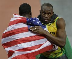 Jamaica's Usain Bolt, right, is congratulated by USA's Justin Gatlin, left, after winning the men's 100-meter final race.