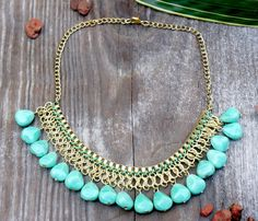 Stone Bead Bib Necklace. Ethical and Eco Chic Jewelry By Soothi.