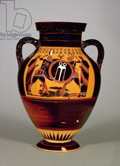Belly Amphora depicting Priam and Achilles, c.550 BC (ceramic) (see also 288279, 293741 and 307550)