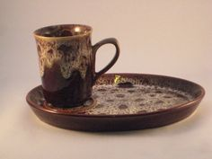 Mug and Snack Plate by Fosters Pottery by TheKnally on Etsy