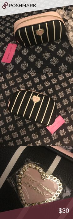 🆕 Betsey Johnson Striped Loaf Cosmetic Bag 🌟🌟 Brand New with Tags  Authentic Betsey Johnson Loaf Cosmetic Bag  Blush Pink, Black, and White Approximate Measurements- 9 X 5 X 3.5/4 Betsey Johnson Bags Cosmetic Bags & Cases
