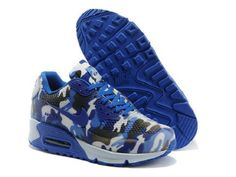sports shoes 1415e 3904f Nike Air Max 90 Hyperfuse Camouflage Femme Homme Bleu Blanc Noir Pas Cher  Camouflage, Air