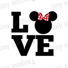 Choose Your Color LOVE Minnie Mouse Bow Disney Vacation Iron On Transfer Printable