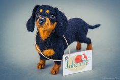 Custom needle felted dog - wire-haired dachshund dackel- made to order - custom pet portrait - memorial sculpture by Inkarno on Etsy
