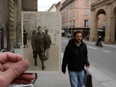 Of all of these then and now photos, this one is my favorite. I just love how the man walking by, in the now photo, has almost the same face as the man in the then photo. It's almost too perfect. Film Photography, Street Photography, Landscape Photography, Nature Photography, Fashion Photography, Travel Photography, Wedding Photography, Vintage Photographs, Vintage Photos