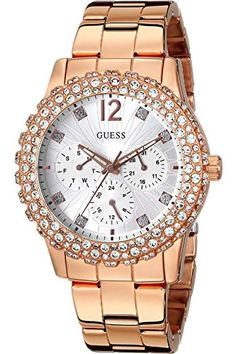 GUESS W0335L3,Ladies Rose Gold-Tone Multi-Function,Genuine Crystal Accented Case,WR >>> To view further for this item, visit the image link.