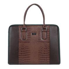 Gentleman Crocodile Leather Upscale Business Men Brown Bag | www.pilaeo.com