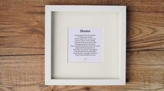 Home  Framed Poetic Print. New Home Printed by ScriptedforYou