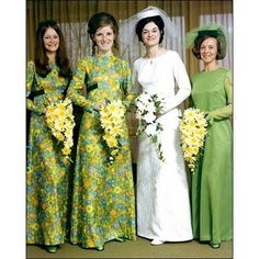 1970s wedding inspiration, check out those bridesmaids' dresses