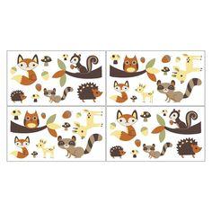 Sweet JoJo Designs Forest Friends Wall Decal Stickers- Green, Orange, Brown, Yellow, Buff