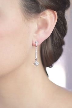 Silver Art Deco Bridal Earrings  Nouveau Earring  by ForTheMaids