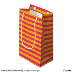 Pink and Gold Stripes Small Gift Bag