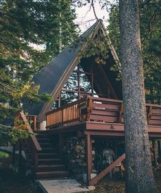 Beautiful A-frame cabin with gorgeous windows. Tiny House Cabin, Cabin Homes, My House, Tiny Homes, House Bath, A Frame Cabin, A Frame House, Cabins In The Woods, House In The Woods