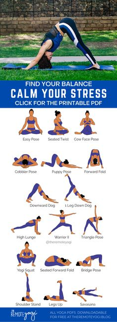 Grab your FREE yoga PDF by clicking on the image and de-stress through stretching and inner peace #yoga #yogapdf #freeyoga #stressrelief Wellness Fitness, Physical Fitness, Yoga Fitness, Cow Face Pose, Puppy Pose, Yoga For Stress Relief, Bridge Pose, Free Yoga, Yoga Poses For Beginners