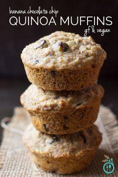 Skinny Banana Chocolate Chip Quinoa Muffins >> healthy, gluten-free & vegan!