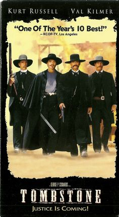 Tombstone Wyatt Earp (Kurt Russell) and his brothers, Morgan (Bill Paxton) and Virgil (Sam Elliott).plus Doc Holliday (Val Kilmer). See Movie, Movie Tv, Tombstone Movie, Tombstone 1993, Wyatt Earp Tombstone, Tombstone Quotes, Peliculas Western, Film Mythique, Films Cinema