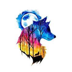 WOLF TATTOO FULL MOON - Wolf Temporary Tattoo