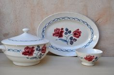 Vintage French Digoin Sarreguemines Tureen Platter and by LaManche